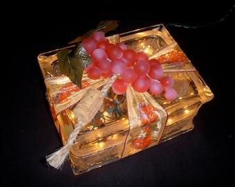Vineyard Grapes Glass Block Light - Red or Purple Grapes & Three Styles - Kitchen Night Light - Home Accent Light - Beautiful Night Lite