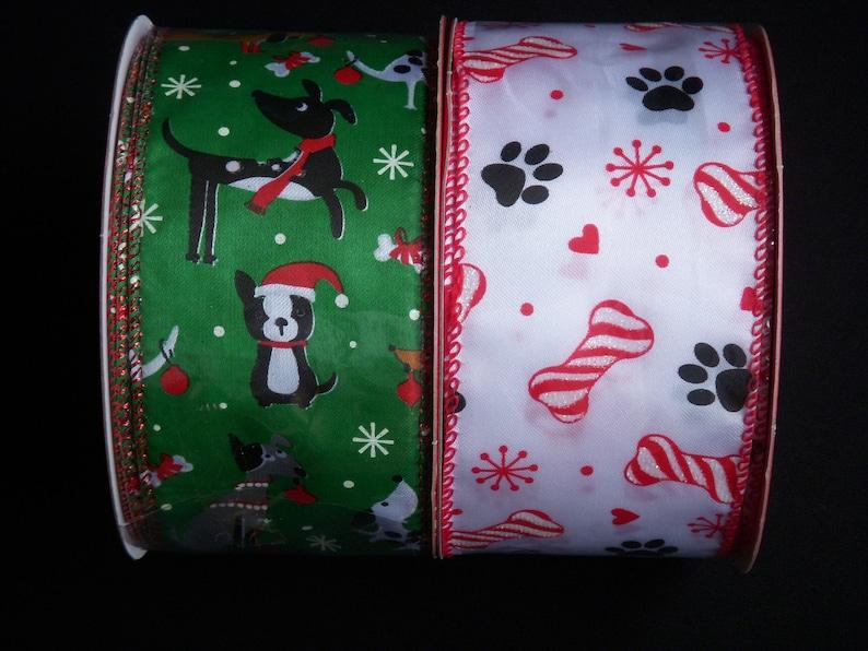 "10 Yards Pawprint Paw Print Dog Cat Black White Wired Ribbon 1 1//2/""W"