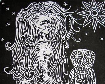 Lilith ~ Bad A** Women of Sunday School Linocut Print FREE SHIPPING Owl Lions Babylonian Goddess Power