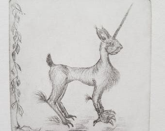Bryonysteed Tiny Dry Point Copper Etching Print FREE SHIPPING Faerie Fairy World Magical Animal