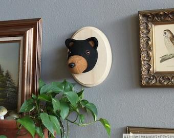 Friendly Black Bear Stuffed Animal Wall Mounted Head Vegan Taxidermy Nursery Decor