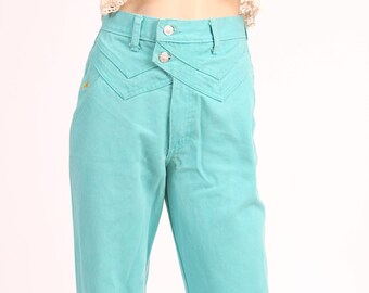 Vintage 90's Teal High Waisted Cowboy Jeans - Women's Size 5 Long Relaxed Fit Jewell's Classic Bottoms
