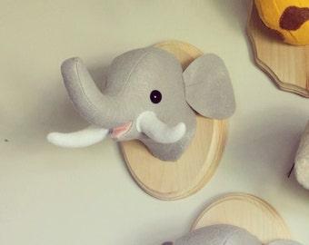 Happy Elephant Wall Mounted Head Nursery or Kid's Room Decoration Vegan Taxidermy