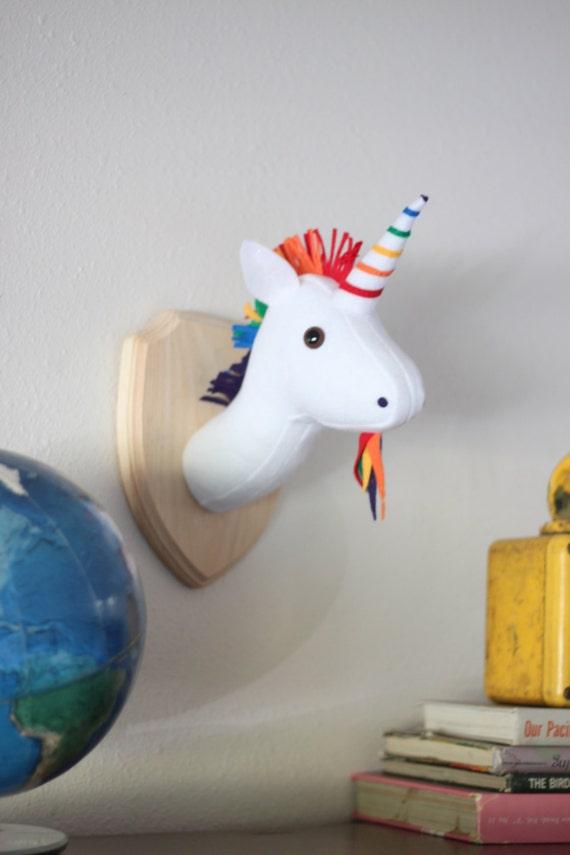Rainbow Unicorn Stuffed Animal Wall Mounted Head Vegan Etsy