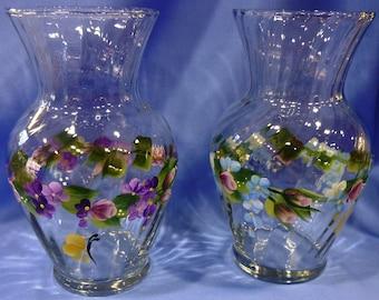 Hand Painted Glass Swirl Vase Color Choice Pink Roses Purple Cornflower Blue Flowers Daisies Hydrangeas Butterflies