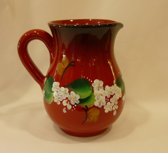 Hand Painted Red Ceramic Pitcher Vase White Flowers Daisies Etsy