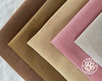 Pure linen flax x8 remnants in x4 colors for sewing crafts /& accessories; Fine linen fabrics in modern colors; Assorted linen craft pack