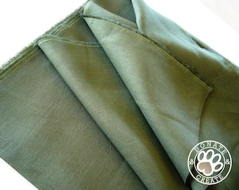 Linen fabric large off-cuts remnants! Pure linen flax fabric for clothing & DIY home decor; Silky smooth dark moss khaki green color linen;