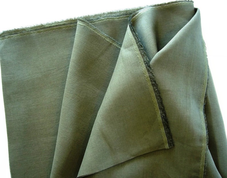 Pure linen flax fabric for clothing /& DIY home decor; Silky smooth dark moss khaki green color linen; Linen fabric large off-cuts remnants