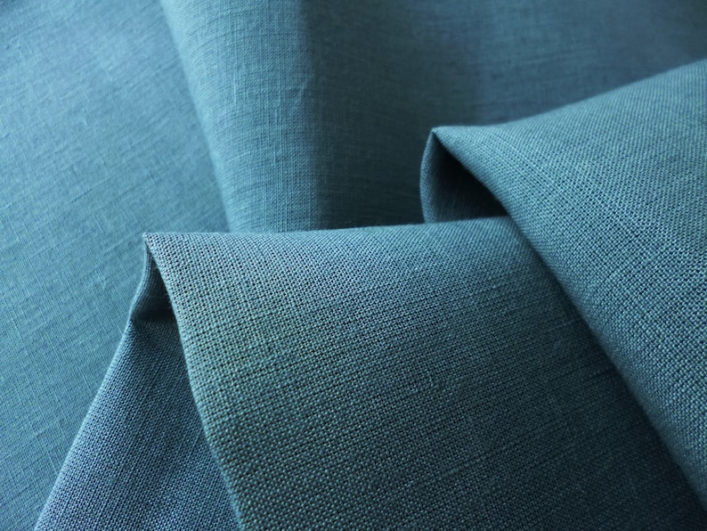 muted indigo blue color fine linen; accessories /& decor; Luxury light weight Pure linen fabric for clothing Linen fabric roll-end Sale