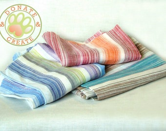 Linen fabric assorted remnants sale! Pure European linen flax large out cuts & scraps for DIY crafts; Pastel striped pure linen fabrics;