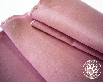 Linen fabric large off-cuts remnants! Linen fabric for DIY sewing, home decor, clothing & fashion; Silky smooth pink rose lilac linen flax;