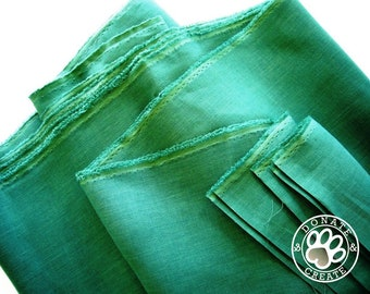 Linen fabric large off-cuts remnants! Pure linen flax fabric for clothing & DIY home decor; Silky smooth quetzal emerald green color linen;