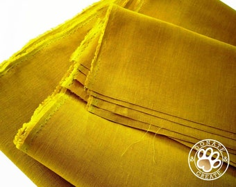 Linen fabric large off-cuts remnants! Pure linen fabric for clothing & DIY sewing decor; Silky smooth citron lime yellow color linen flax;