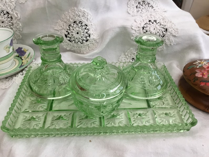 new style 588ee 0f001 1930/40's Green Glass Dressing Table Set