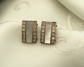 1960's Mother of Pearl and Diamante clip Earrings