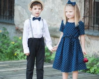 Navy Blue girl dress - Linen girl dress - Polka dot toddler girl dress - Navy blue baby girl dress - Summer girl dress - Flower girl dress