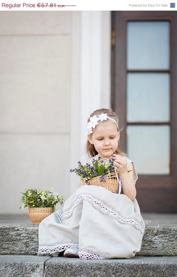 and Flower girl outfit and outfit set girl girl Rustic girl headband dress wedding dress piece Flower hair Country Linen flower zwAUq