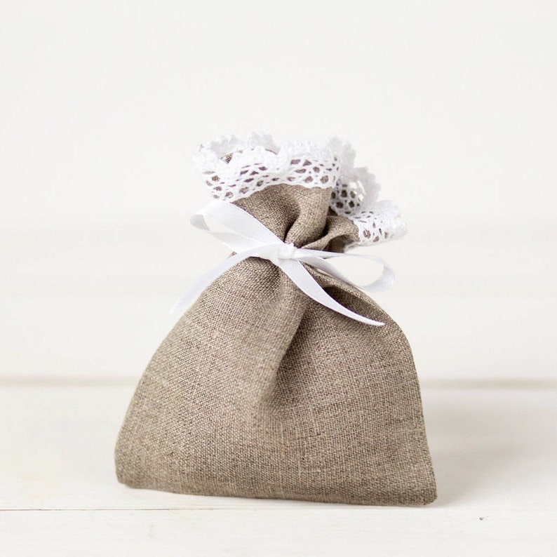 Wedding favor bags Baby shower bags Christmas Gift bags Linen favor bags set 10 Linen lace wedding favor gift bags