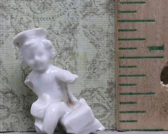 Vintage Antique Excavated  Victorian German Frozen Charlotte Doll Soldier  Miniature Porcelain Doll  1880 Oscarcrow
