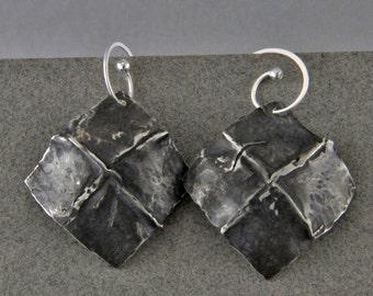 Handmade Sterling Silver Forged Fold Formed Earrings