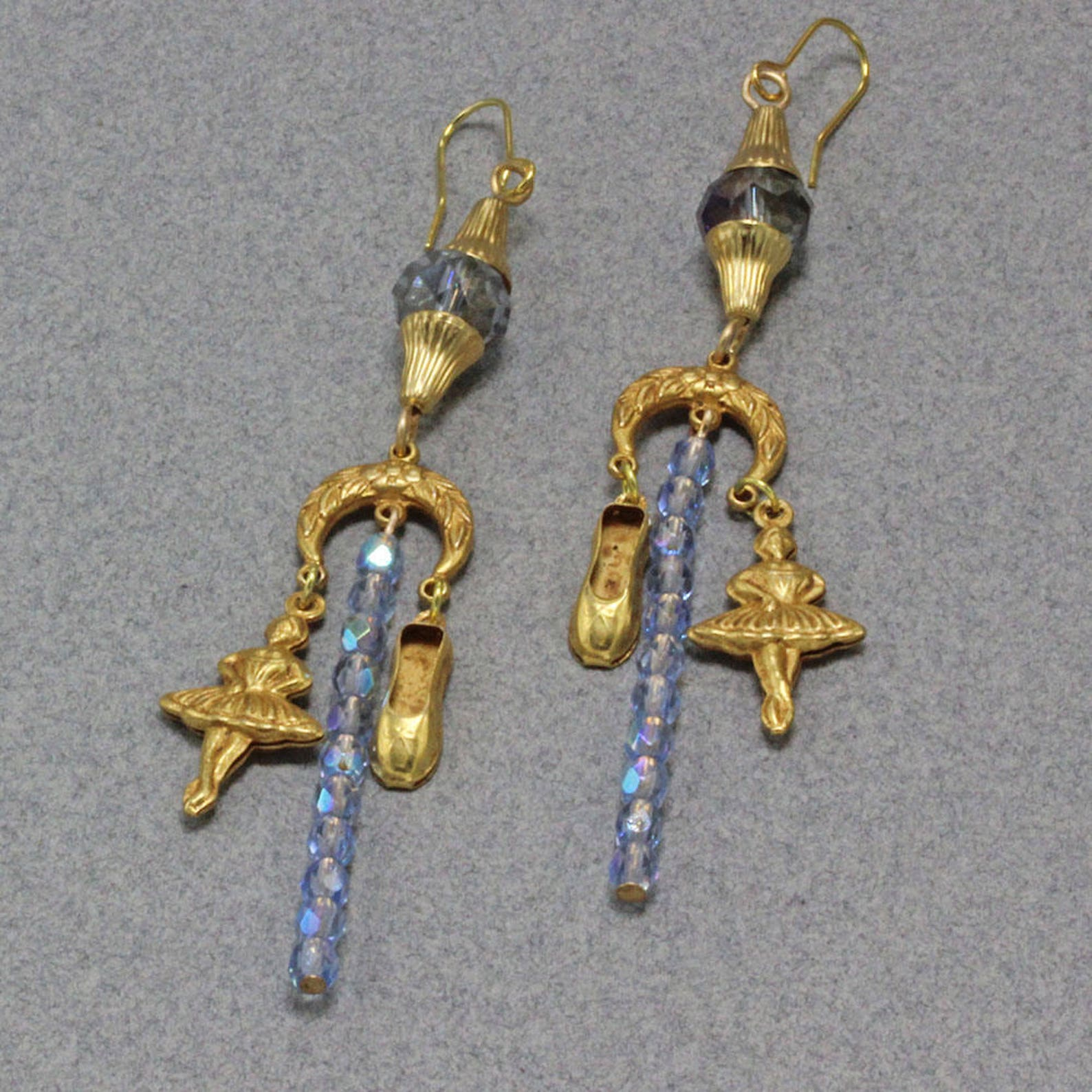 hand assembled earrings gold finish brass ballerinas and ballet shoes nights at the ballet earrings blue ab crystal beads gold p
