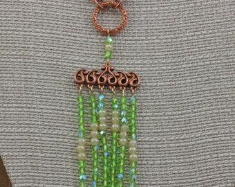 Handmade Jewelry Necklace Copper Old Rose Ox Waterfall Beaded With Vintage Czech beads Green AB and Cream Pearls 26 in. Necklace Oscarcrow