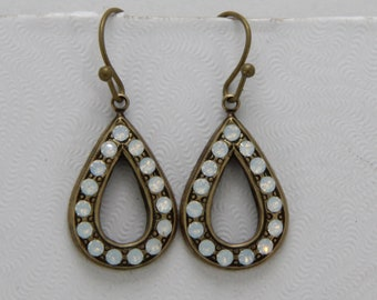 Handmade Earrings  Teardrop Glass Opal Swarovski Rhinestone Pave Antiqued Brass Brass Earwires Oscarcrow