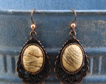 Handmade Dangle Earrings Rusty Iron Pewter Casting Hold 18x13mm Natural Brown Jasper Stone Cabochons