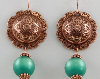 Handmade  Old Rose Ox Domed Connectors with Lucite Moonglow Green Beads On Copper Hooks Earrings  by Oscarcrow