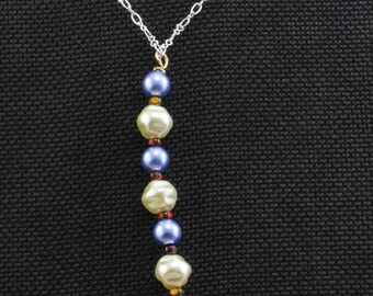 Handmade Jewelry Necklace Alternating Blue and Cream Glass Pearls on A Silver Brass Chain 22 Inch An Oscarcrow Original