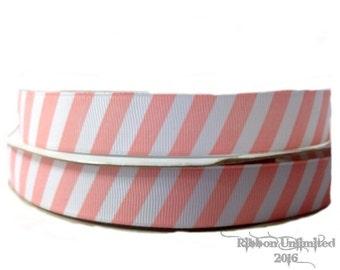 100 Yards 7/8 Inch Pink and White Diagonal Stripe Grosgrain Ribbon
