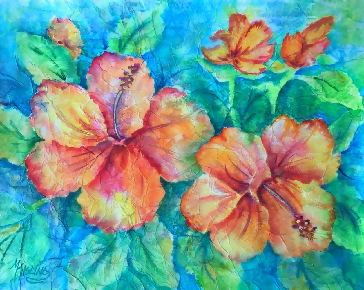 Peach hibiscus hibiscus watercolor tropical flowers orange etsy zoom izmirmasajfo
