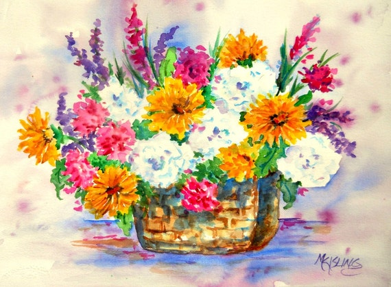 Watercolor Spring Flower Bouquet Basket Painting By Martha Etsy