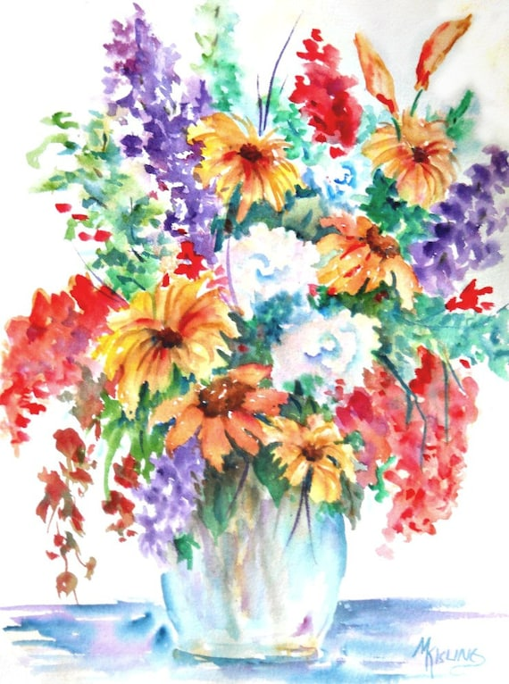 Watercolor Bouquet Spring Flowers Watercolor Spring Floral Flower Decor Flower Art Daisies Martha Kisling