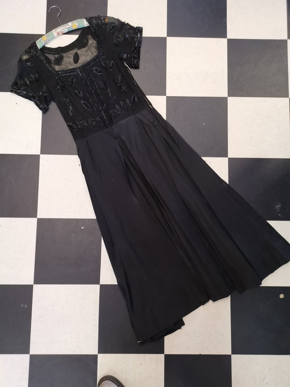 Vintage Edwardian 1910s/1920s Black Beaded Evening Gown