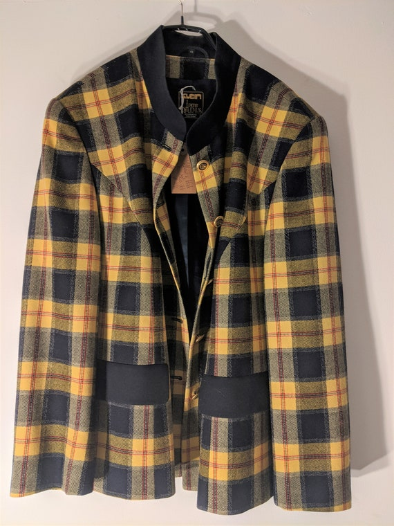 Yellow and black checked 1980s jacket