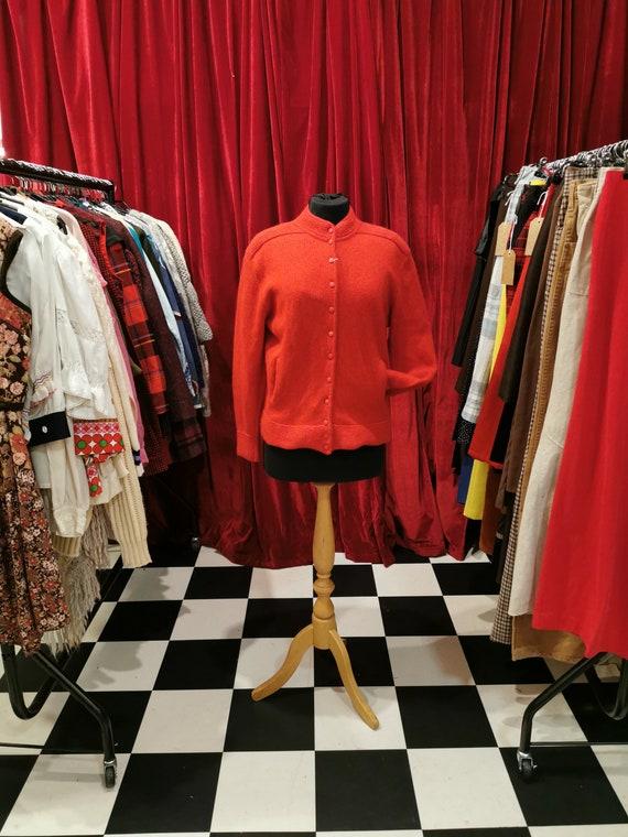 Vintage 1980s Bright Red 100% Wool Long Sleeve Car