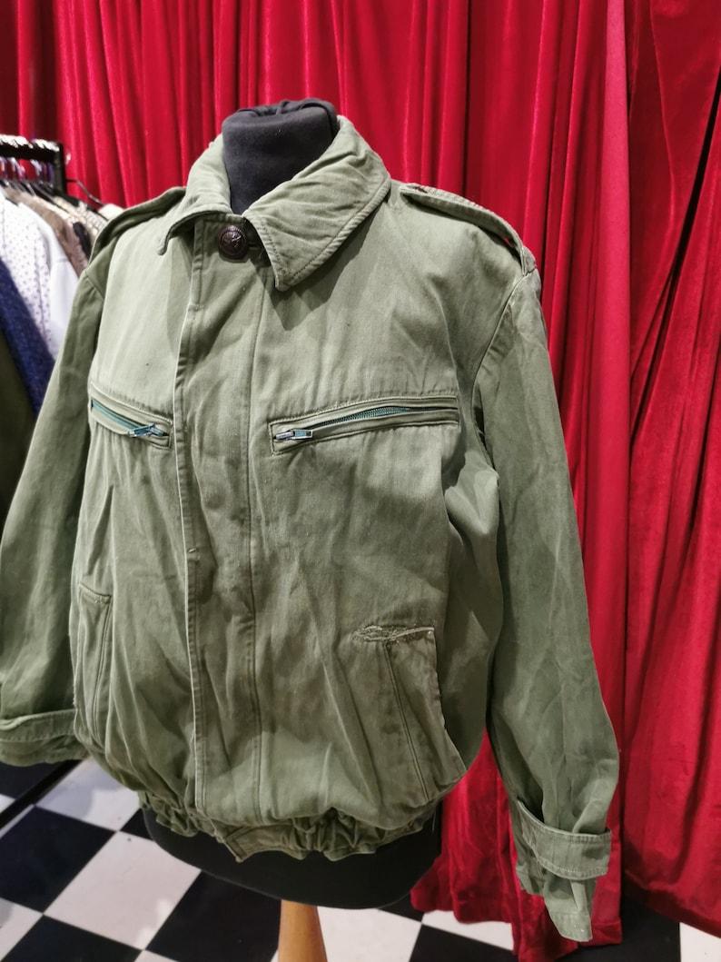 Vintage 1970s Khaki Green Unisex Cotton Military Cargo Style Bomber Jacket