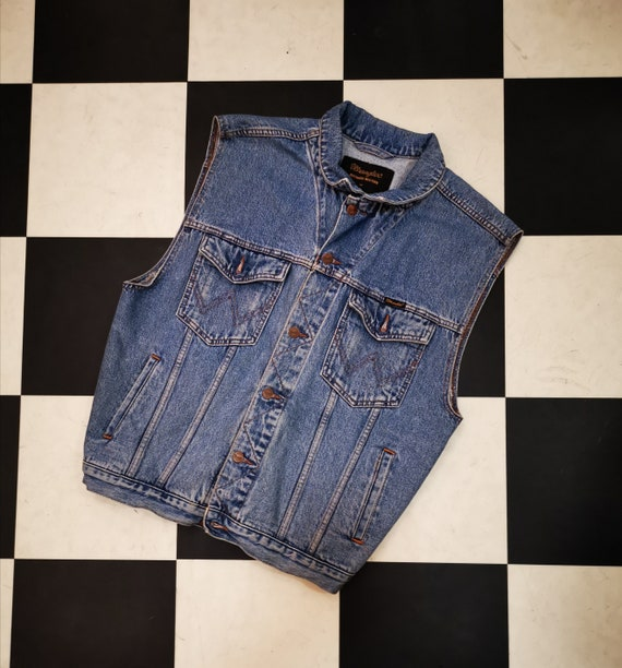 Vintage 1980s Stonewashed Wranglers Denim Sleeveless Vest Jacket