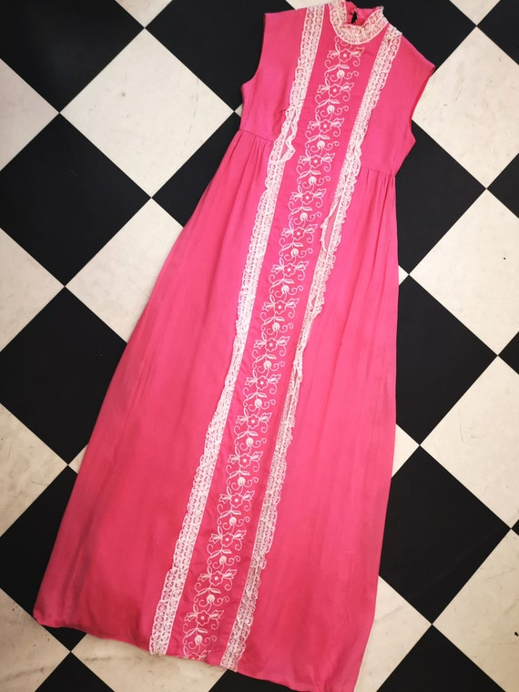 Vintage 1960s 1970s Bubblegum Pink Maxi Dress with White Lace Detail