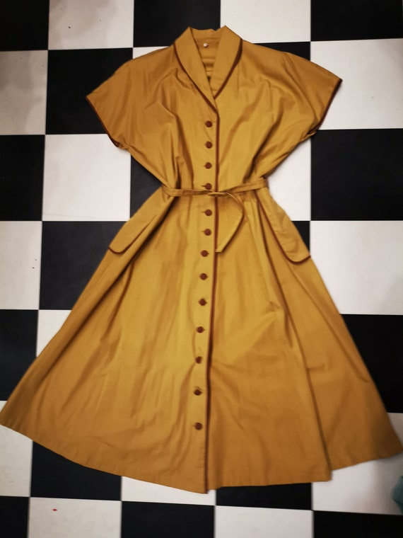 Vintage 1950s Mustard Belted Shirt Dress
