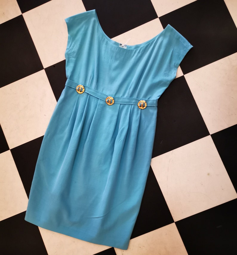 Vintage Baby Blue 1960s Mod Wiggle Dress with Gold Cherub Belt image 0