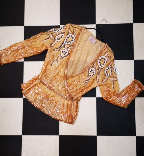 Amazing Vintage 1980s Fantasy by Lisa Kane Gold Sequin & Beaded Silk Wrap Blouse