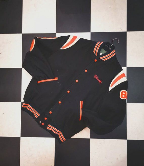 "Vintage Black & Orange Wool ""Chuck"" Varsity Central Preston Basketball Bomber Letterman Jacket"