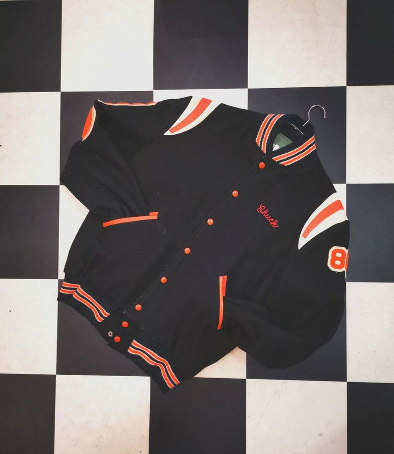 Vintage Black & Orange Wool Chuck Varsity Central Preston image 0