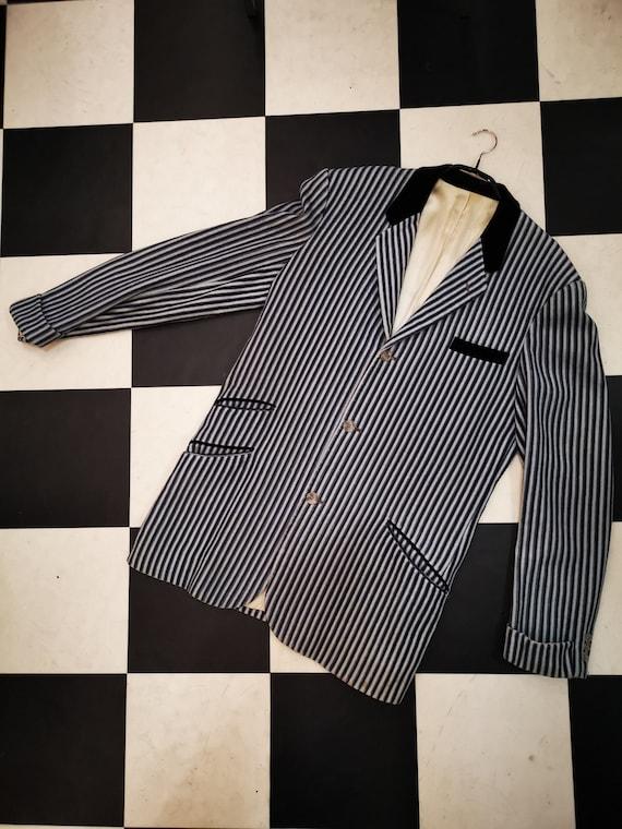 Vintage 1960s 1970s Mod Wool Stripe Blazer Jacket