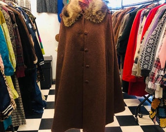 Vintage 1970s Felted Mohair Brown Cape w/ Suede Shoulders