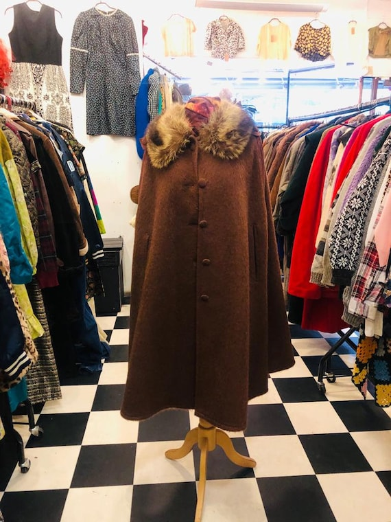 Vintage 1970s Felted Mohair Brown Cape w/ Suede Sh
