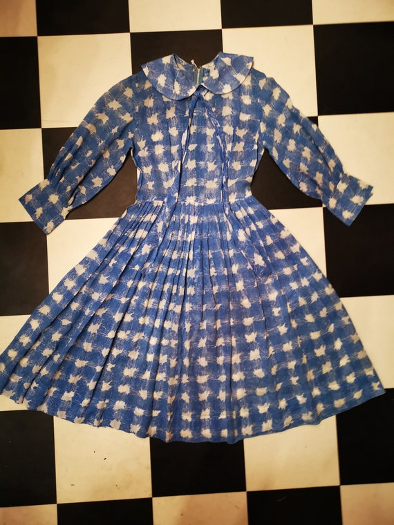 Vintage 1950s Powder Blue & White Peter Pan Collar Dress